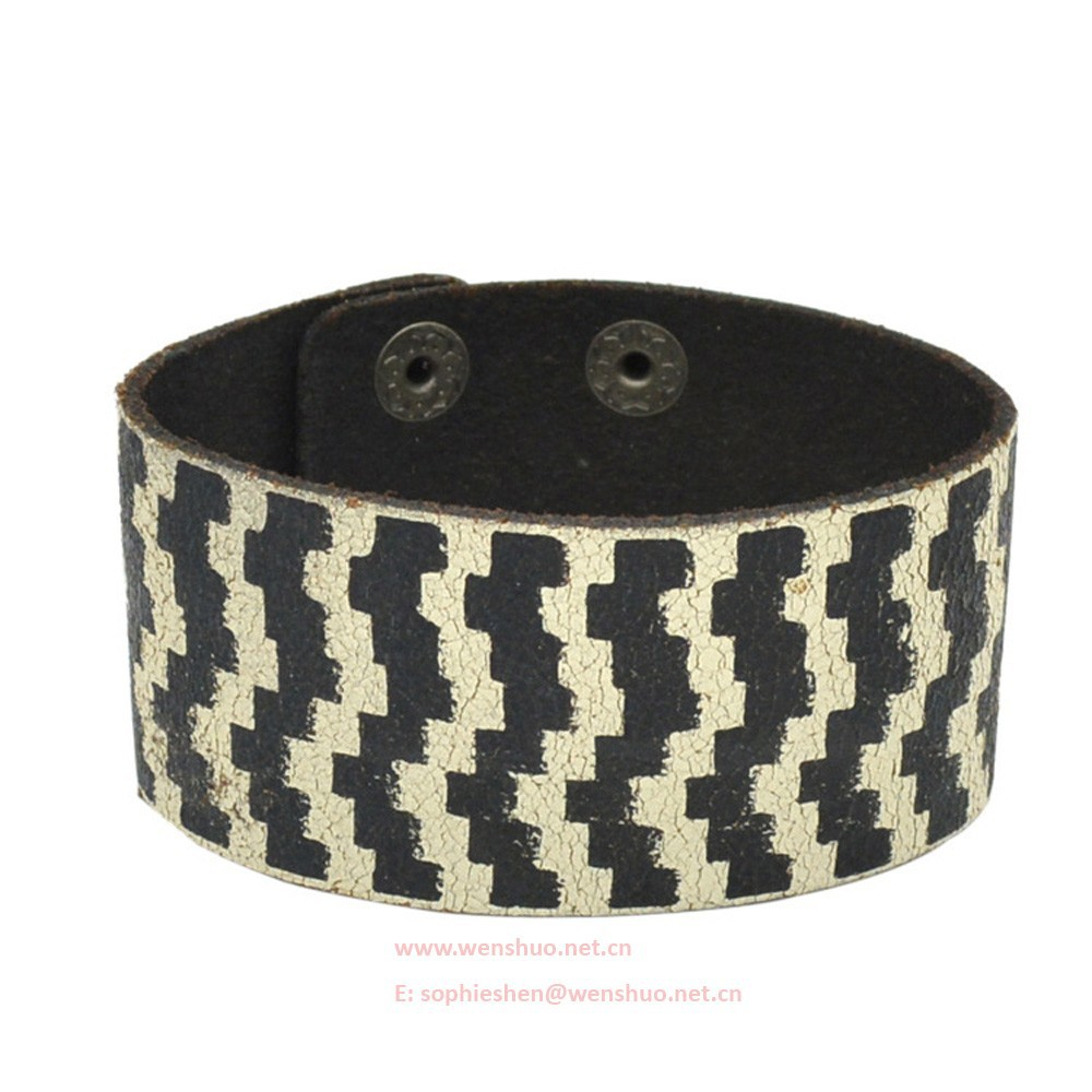 Retro Wide Leather Bracelet Print Zebra Bangle