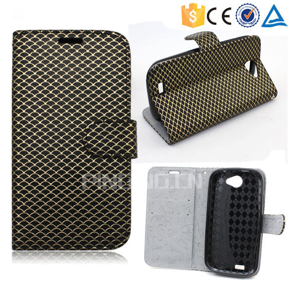 Wholesale leather flip cover case for LG x screen , flip leather case for LG x screen