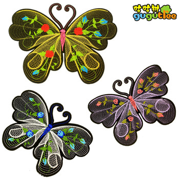 patches embroidery 3D colorful butterfly stock big butterfly embroidered  patch woven labels badges for clothes jackets