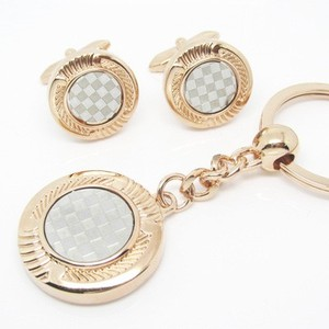 Men's Jewelry Alloy and Crystal Sleeve Square Button Male Cufflinks Key Chain Set