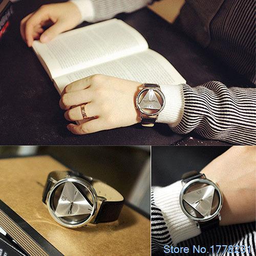 Горячая распродажа FashionUnisex очарование стекла полый треугольник циферблат искусственной кожи аналоговый кварцевые наручные часы 4GKK