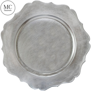 Cheap decorative silver plastic charger plate