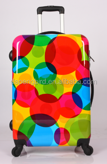 new printing hotel luggage trolley type and built-in caster cabin trolley case bag