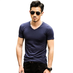 Fashion Popular Bulk Wholesale Clothing 65%Cotton 35%Polyester T-Shirt Blank Men's Slim Fit Dark Blue T-Shirt