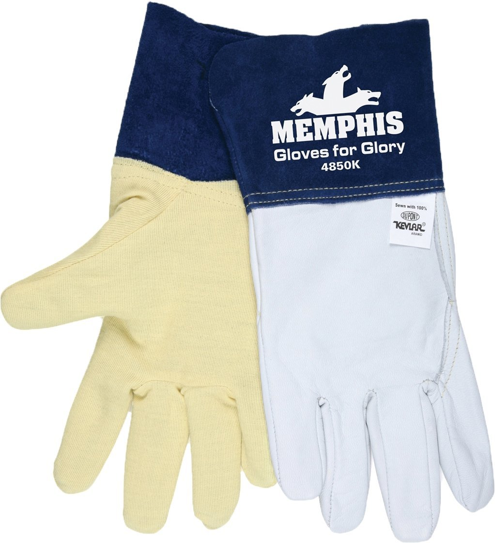 MCR Safety 4620 Kodiak Split Cow Leather Deluxe Welder Gloves with Reinforced Palm and Wing Thumb X-Large Yellow 12-Pack