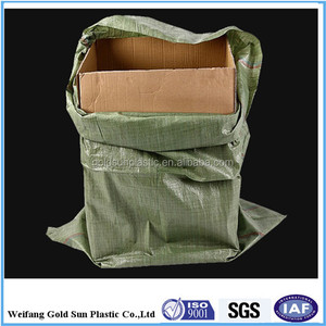 Green recycled PP woven bags for packaging construction waste, building garbage