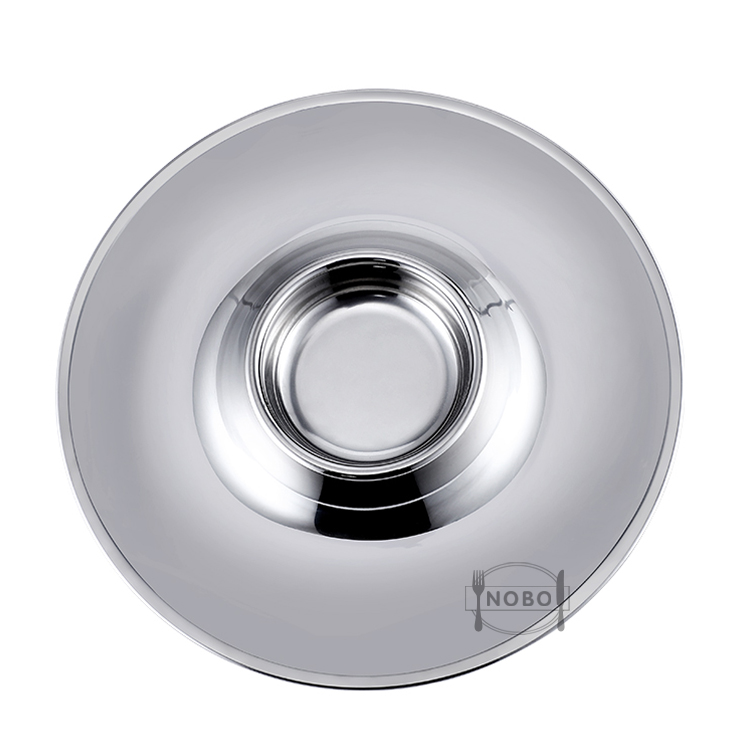 Wholesale Newest Multifunction Serving Tray Stainless Steel Sushi Plate with Dipping Saucer