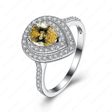 Yellow water droplets design ring white zircon jewelry fashion 925 italian silver ring