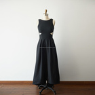Sexy Scoop neckline Black Satin V Back Long Wedding Bridesmaid Evening Prom Dress