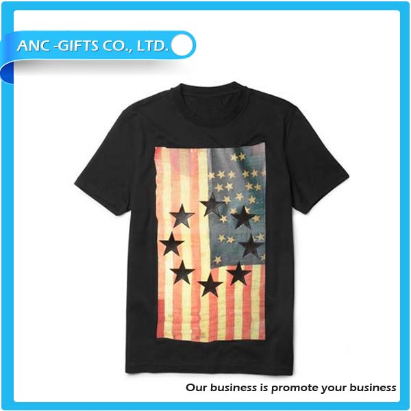 Cotton t-shirt with American flag men fashion t shirt wholesale
