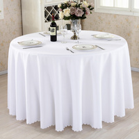 Round Tablecloth Camping Solid Color Table Cloth White Table Linen Hotel Party Wedding Tablecloth Dining and Coffee Table Cover