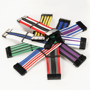 24 pin Dual PSU Colorful Sleeved 24pin ATX Extension Cable 30cm 18AWG