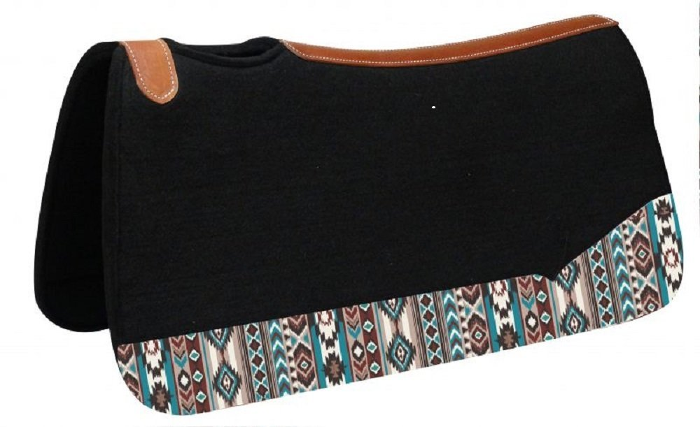 "Showman 31"" x 32"" Black 1"" Thick Contoured Felt Saddle Pad with Navajo Print On Wear Leathers Vented Withers"
