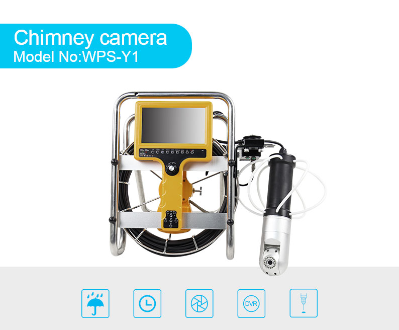 CCTV video meter/foot counter chimney inspection camera