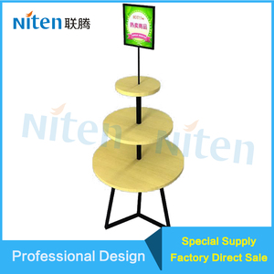 Circular Rotating Round Retail Display Table/Tablet Display Stand with Banner/Adverising/Poster Holder