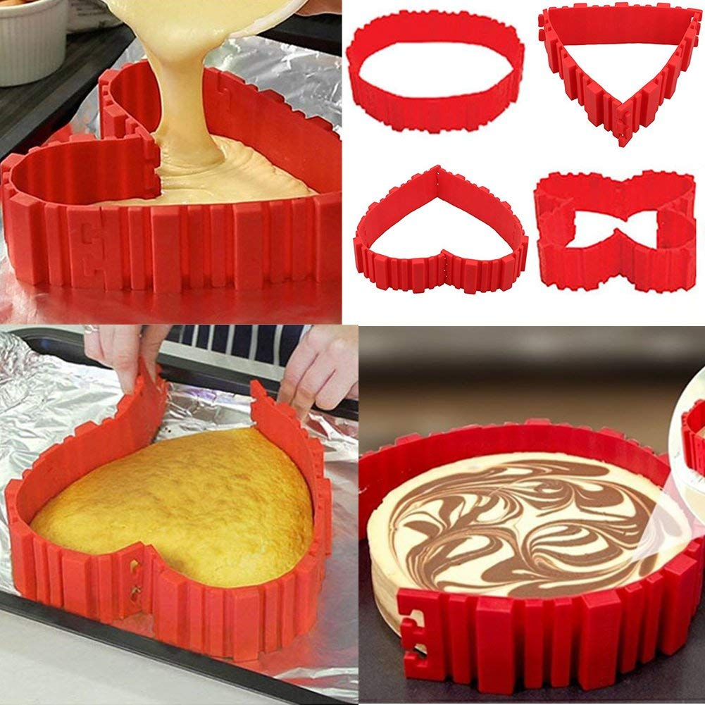 Silicone Cake Mold Nonstick Cake Pan Bake Snake DIY Baking Mold Tools 4 Pcs Nonstick Flexible Reusable Easy to Use and Wash
