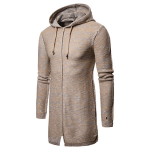 custom fashion men khaki longline pullover dress sweater coat