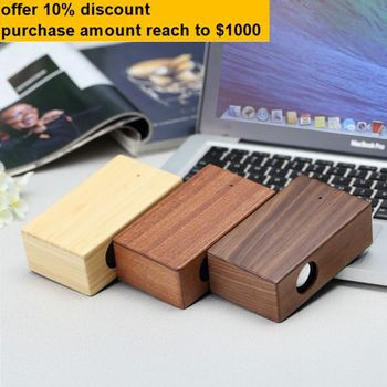 rectangular bamboo wood wireless induction speaker