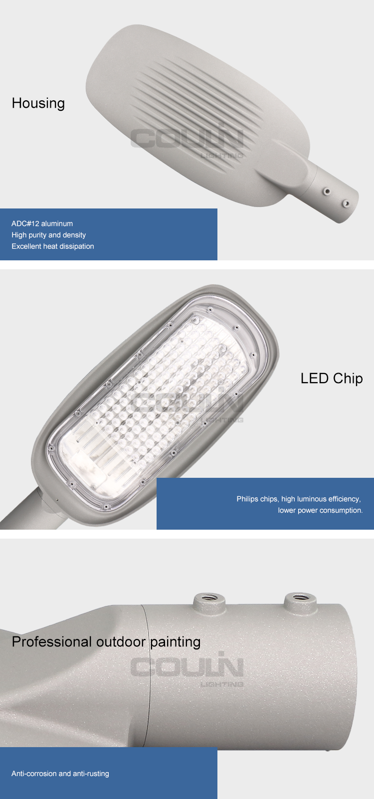Gray Aluminum 150lm/w Ip65 Led Slim Light Streetlight 100w Street Lights With 5 Meters Pole