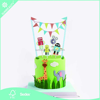 Wholesale Sunbeauty Robots Decorative Cake Toppers Kit Buntings Banners For Kids Birthday Party Supplies
