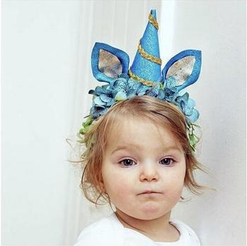 Baby Birthday Party Unicorn Horn Flower Hairband Crown Headband Headpiece 11037494a10