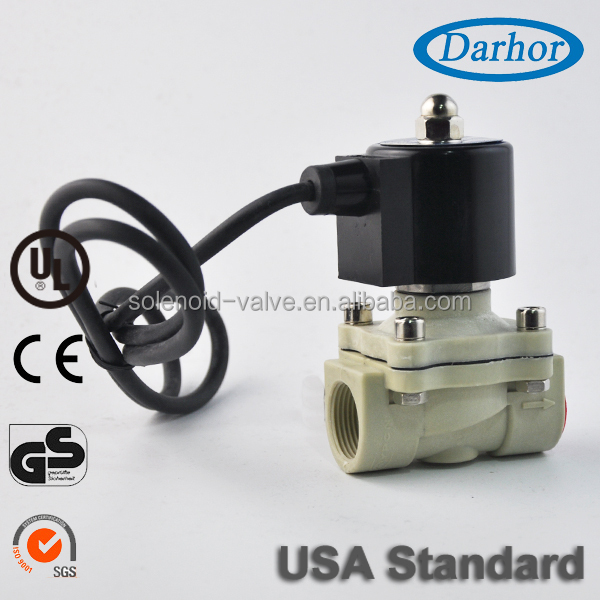 Plastic submersible solenoid valve with direct acting design