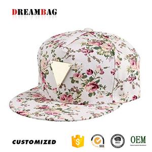 42e29ff9a96 Flat peaked Hip-Hop personality top quality metal logo custom fashion  wholesale floral snapback hat