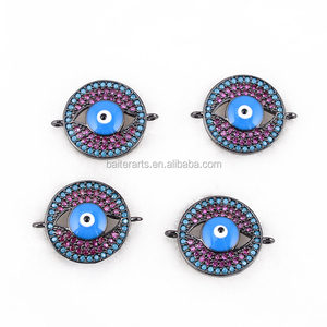 Turkish Jewelry 925 Sterling Silver AAA Cubic Zirconia CZ Pave Blue Enamel Round Evil Eye Connector Charms For DIY Jewelry