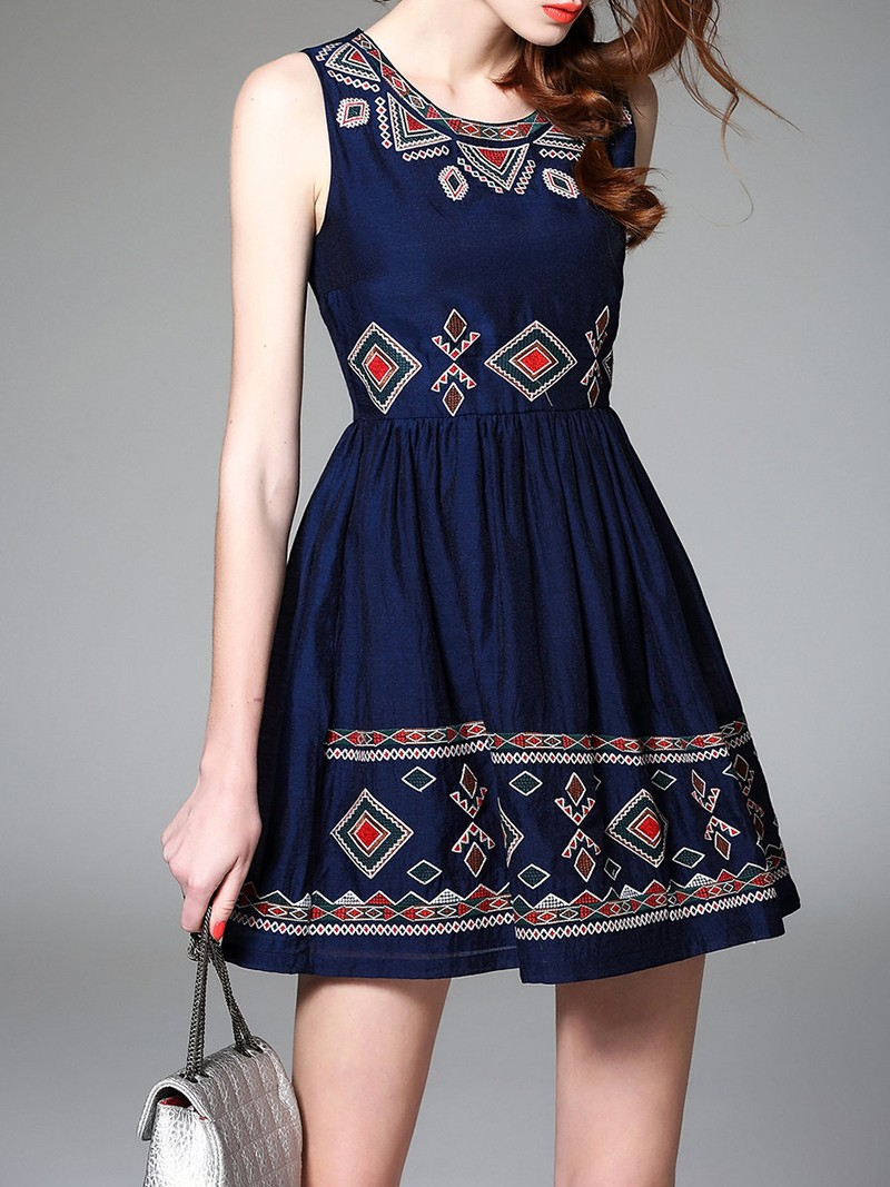 O-neck embroidered sleeveless navy cotton casual women dress