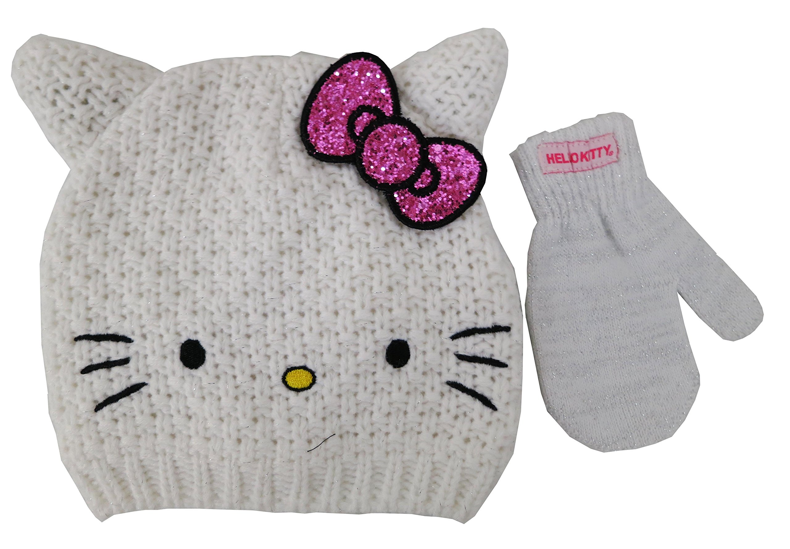 cdb1ba6a022 Get Quotations · Sanrio Hello Kitty White knitted Beanie Hat and Mitten Set  - Toddler  4013