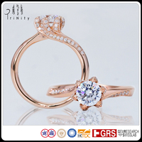 Custom Logo Brand name Rose Shape 18K Gold Prong Setting White Round 0.50 Carat Diamond Fancy Engagement Semi Mount Ring