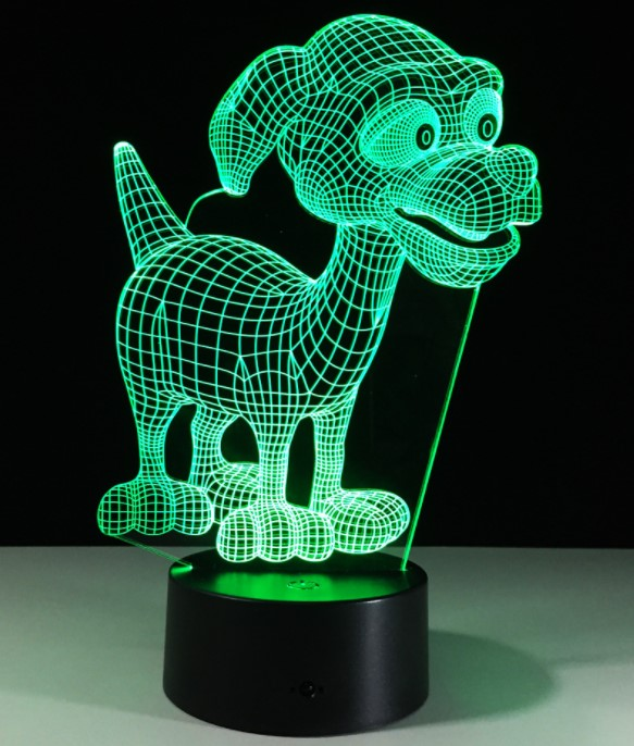 USB Novelty Gifts 7 Colors Changing Animal Dog Led Night Lights 3D LED Desk Table Lamp as Home Decoration Remote Control