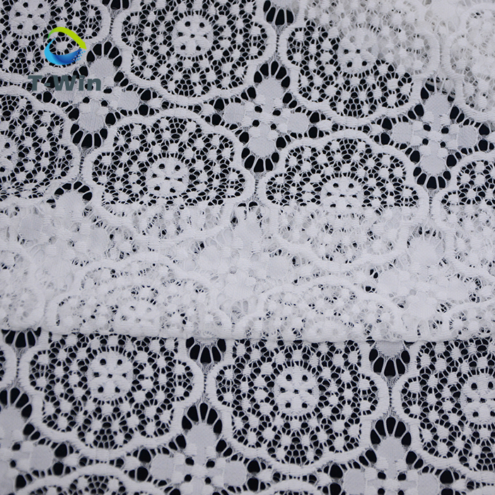Off White Ivory Lace Fabric soft touch stretch Nylon Mix Polyester Floral Lace for Table Runner Chair Sash