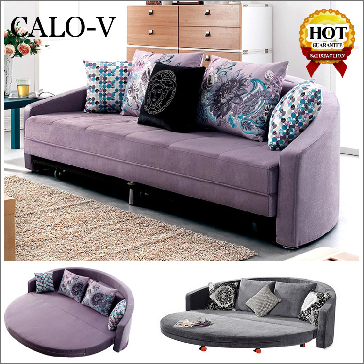 Wholesale Fabric 2 Seater Round Sleeper Sofa Bed Half Moon