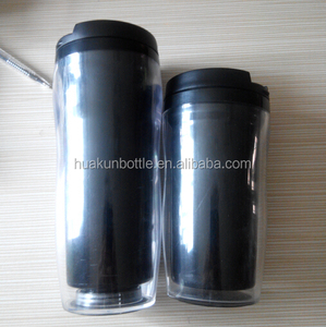 double wall plastic coffee tumbler with paper insert promotional travel mug