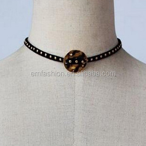 Simple Heart Star Ring Charms Black Velvet Pu Lace Choker Necklace