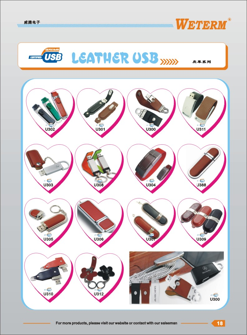 wholesale 4GB usb flash drive leather case