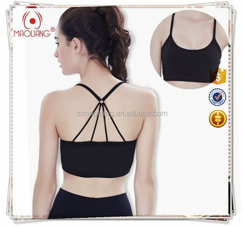 c3d46e1f95 High Quality Ladies Women Custom Blank Strappy Criss-cross Back Comfort  Sports Bra with Removable