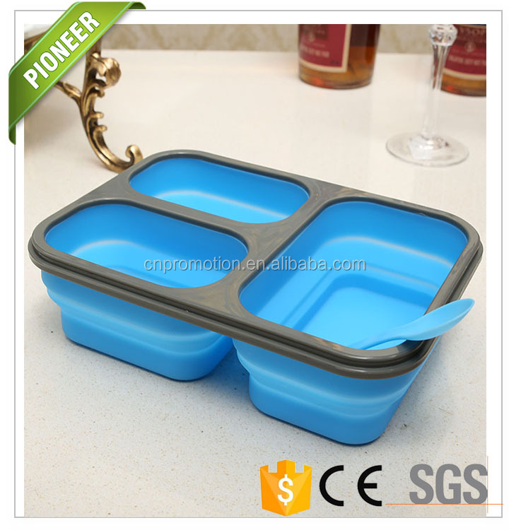 wholesale folding biodegradable bento box and custom recyclable 3 compartment foldable silicone bento lunch box with dividers