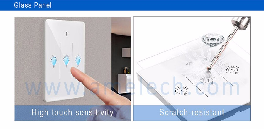 American German Style Glass Panel Wifi Controlled Touch
