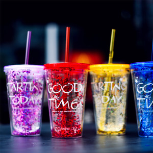 16oz double wall BPA free colorful plastic cup glitter tumbler with lid and straw