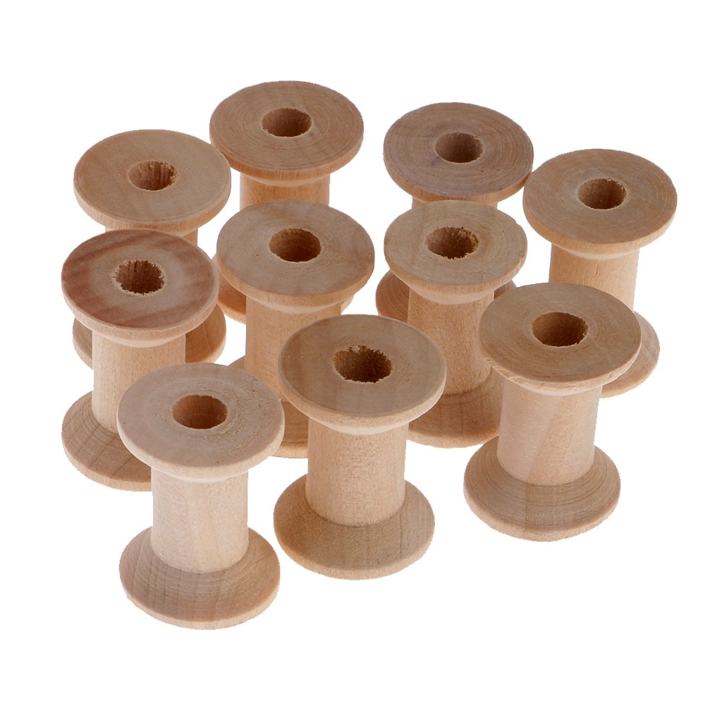 Dovewill 10 Pieces Natural Wooden Empty Thread Spools DIY Sewing Notions Tools 28x21mm