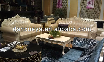 Solid Wooden Frame Leather Top Grain Leather Sofa/European Design Classical  Crystal White Leather Sofa