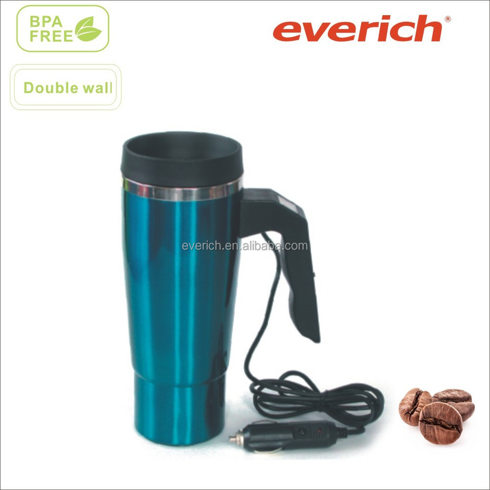 18oz electric heated car mug with plug and digital temperature display