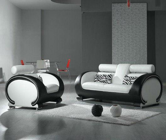 Bisini soggiorno divano bianco e nero, vera pelle divano del ...