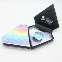 Magnetic Closure lashes Custom Empty square Clear Window Golden Glitter eyelash Packaging Box