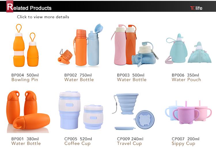 Quảng cáo Dễ Thương Chai Cách Nhiệt Tái Sử Dụng BPA FREE Lọc Silicone Trẻ Em Chai Nước Uống