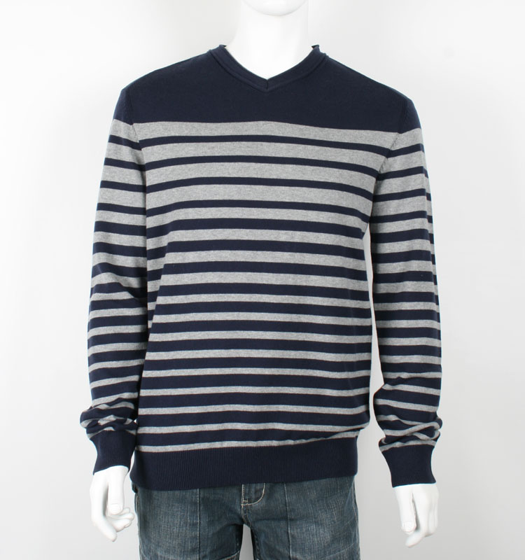 Wholesale Knitted Men Pullover V Neck Sweater