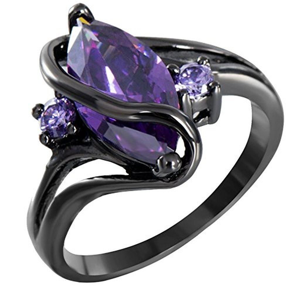 Sugar Memory Charming S Amethyst Sapphire Vintage Jewelry Women Wedding Ring Anel Purple CZ Band 14KT Black Gold Filled Bridal Rings