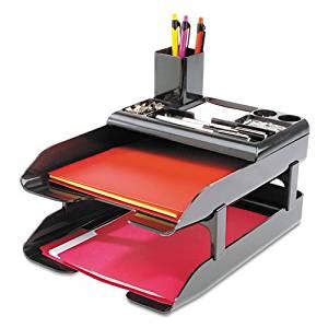 Corporate Desk Tray Set, Two Tier, Plastic, Metallic Black, Sold as 1 Set